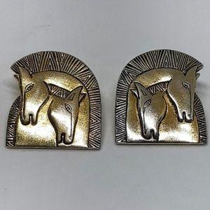 """Laurel Burch Vintage """"Embracing Horses"""" Earrings"""